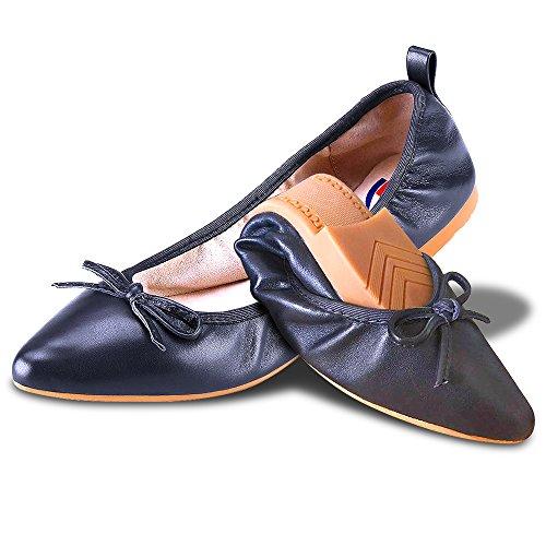 Damen Fold Up Pumps Schaffell Schlüpfen Ballettschuhe Tragbar Aufrollen Schuhe - ABUSA Ballerina Casual Loafers Nach der Party Pumps Haushalt Hausschuhe und Flach Schwarz Leder Tanzschuhe (Navy Leder-loafer)