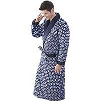 DMMSS Manica lunga camicia da notte invernale ispessimento Accappatoio Abbigliamento Uomo , blue , xl