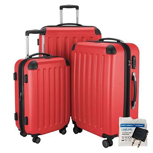 HAUPTSTADTKOFFER® 3er Reisekofferset · SPREE · TSA · MATT · NEU 4 Doppel-Rollen · (in 12 Farben) + LogiLink® Flugzeug Audio Adapter (Cyan Blau) Rot