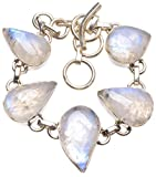 StarGems(tm) Argent 925 Moonstone Unique fait à la main Bracelet 19,05cm Bleu U2176