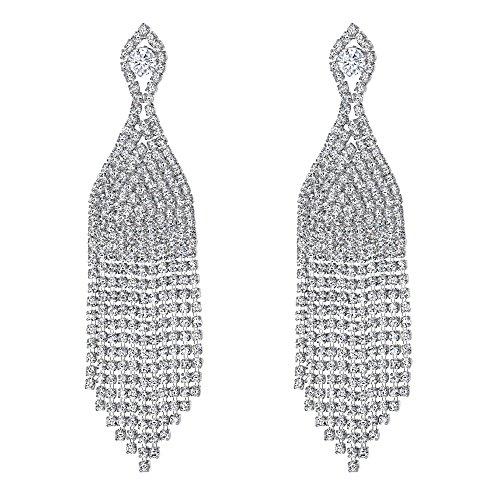 Clearine Damen Hochzeit Braut CZ Kristall Perlen Quaste Fringe Kronleuchter baumeln Ohrringe klar Silber-Ton