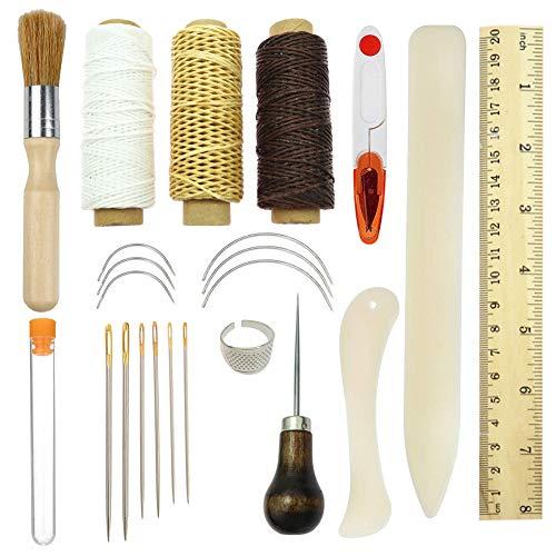 Buchbinden Werkzeuge Kits, Partyqueen Premium Nähen Werkzeug für Leder, Handarbeit Bücher und Papier DIY bookblind Set, inkl. Nähnadeln/gewachst Gewinde/Kunststoff Lineal und so auf wie Main Bild