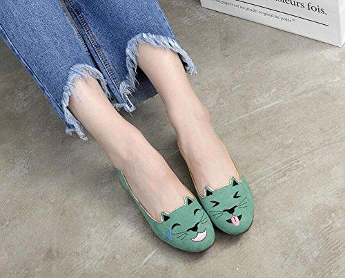 GLTER Femmes Chaussures à talons fermés Chaussures de bateau Autres chaussures personnalisées Cat Chaussures plates brodées Chaussures de tribunal Pink Green Green