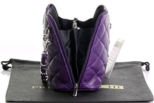 Borsa di cuoio italiano Design classico diamante forma borsa tracolla imbottita, con catena in metallo e cuoio, maniglie / tracolla include una custodia protettiva marca Mini viola