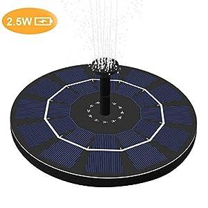 OriFiil Bomba de Agua Solar, 2.5W Fuente de Jardín Solar, Batería Incorporada (versión 2019), Kit de Bomba Sumergible para Baño de Aves, Estanque, Piscina, Patio,Decoración del Jardín (2.5W Batería)