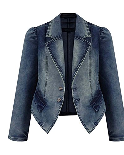Damen Schlank Kurz Jacke Denim Mantel Outwear JeansJacken Als Bild