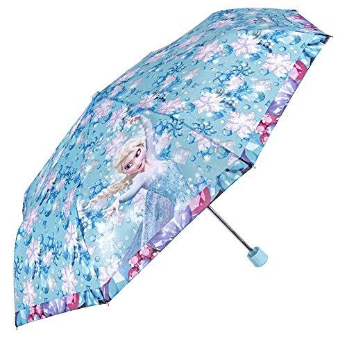 Disney Frozen: El Reino del Hielo – Paraguas Mini para niña Perletti – Paraguas Plegable para niña con Estampado de Elsa y Ana de Disney Frozen – 89 cm de diámetro – Apertura Manual