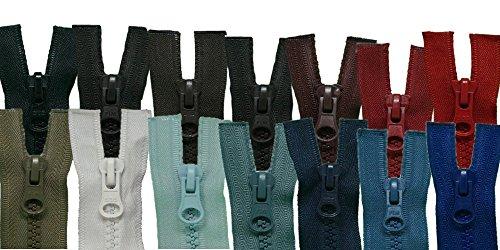 FIM 2 Wege Reißverschluss Plastik Zähne Nr.5 mittelgrob Teilbar Zweiwege Farbe: 1 - schwarz (322), 65cm lang