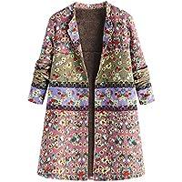 ZIYOU Damen Blumendruck Mantel mit Taschen, Retro Vintage Große Größe Mäntel Jacke Damen Warme Outwear Winterjacke Langarm Trenchcoat