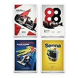 McLaren MP4/4 - Ayrton Senna - Poster Set - Unique Design Poster - Dimensioni Poster Standard 50 x 70 cm