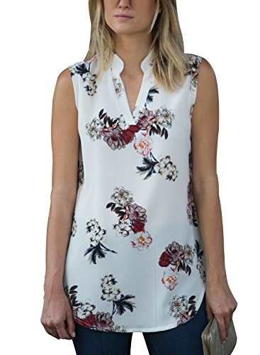 Happy Sailed Womens Casual V Neck Sleeveless Floral Print Summer Tunic Tops