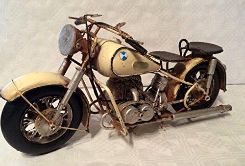 Nostalgie Blech Oldtimer Motorrad Tourer Weiss 33 cm Modell