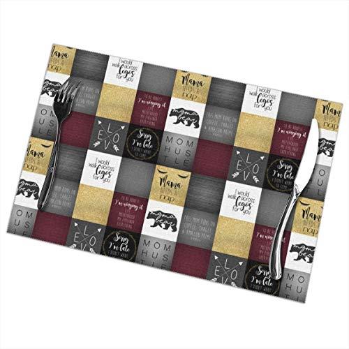 Hunter qiang platzdeckchen abwaschbar,(6er Set) 6#Momlife Faux Quilt_1228, Rutschfeste Isolierung Tischset Waschbar PVC Polyester Für küche bankett Party Bunte (Faux-marmor-küche-tisch-set)
