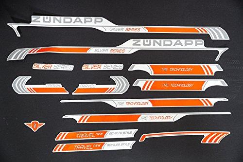 Fahrrad Dekor Satz Aufkleber Rahmen Schriftzug Sticker Zündapp Bike Label orange (Fahrrad Rahmen Aufkleber)