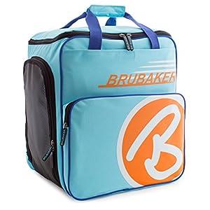 BRUBAKER Skischuhtasche Helmtasche Skischuhrucksack Super Champion Hellblau Orange – Limited Edition –