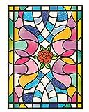 dpr. Fensterbild Tiffany Optik Rose Rosenblüte Blumen einseitig Zart beglimmert statisch selbsthaftend Fenstersticker Aufkleber für Glas und Andere Glatte Oberflächen