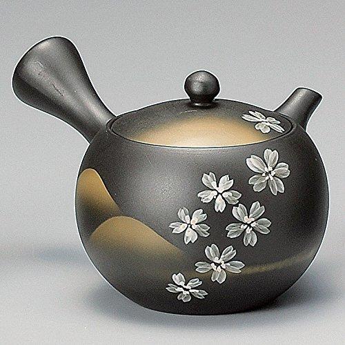 Yamakiikai Tokoname Negro Kyusu(Japonés tetera) Blanco de la flor del Cerezo patrón con un colador 260cc M540 de Japón