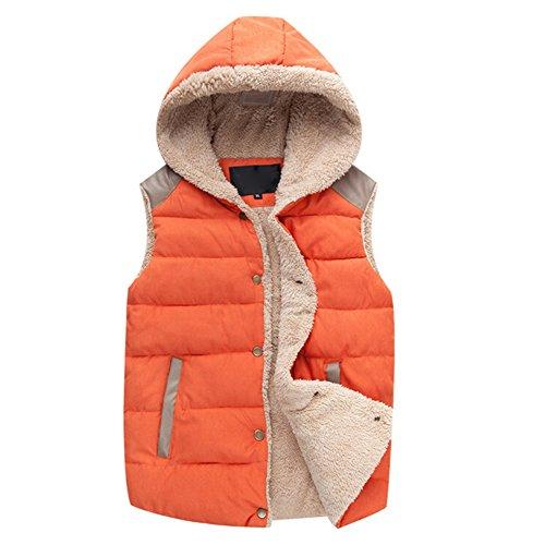 Highdas Winter Warme Jacke Damen Herren Winter Weste Baumwoll Weste Kapuze Verdicken Oberbekleidung Orange