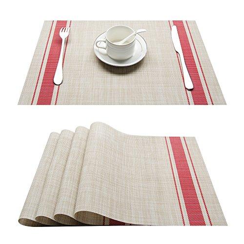 Top Finel Lot DE 4 Sets de Table en Plastique PVC Tressées Rectangulaires Coloré napperons 45x30cm,Rouge