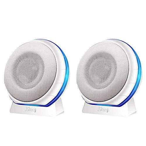 NAttnJf Art- und Weisebuntes LED-Licht 3.5mm Jack verdrahtete Laptop-Tischrechner-Mini-Lautsprecher Valentinstag Weiß Single#