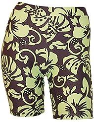 Private Island Hawaii Los pantalones cortos delgados con guardia de erupción para la mujer XXX-Large Marrón con verde