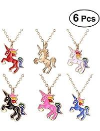 e77704d0dc11 Fenical collar colgante Cartoon unicornio Pegasus conjunto de joyas 6 pcs  (Surtido Corlor)