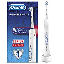 Oral-B Kids Junior Smart Electric Rechargeable Toothbrush, 1 Bluetooth Enabled Handle, Smart Timer, Pressure Sensor, 1 Sensi UltraThin Brush Head, for Children 6+ Years, UK 2 Pin Plug