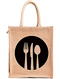 H&B Brown Jute Handbag / Quality Lunch Bag / Gift Bag / Jute Stylish Lunch Bag / Combo Offers Of Jute Lunch Bags... - B0792T55HJ