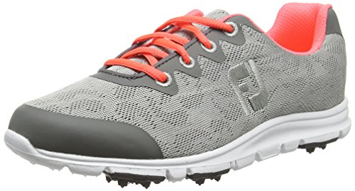Footjoy Damen Enjoy Golfschuhe, Grau (Grey/Papaya), 40 EU