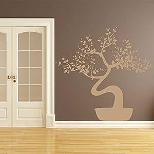 Sticker mural Bonsai - couleur beige - Taille 73x71 cm
