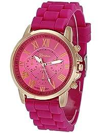 Kinlene moda reloj casual ginebra silicona analogico mujer reloj de pulsera de cuarzo (Hot Pink)