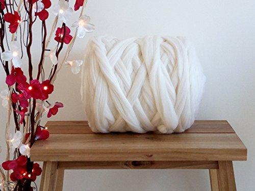 (Riesengarn aus 100 % Merinowolle, gebleicht, weiß, zum Armstricken / Filzen, erhältliche Menge: 50g-4kg, bleached white, 500 g)