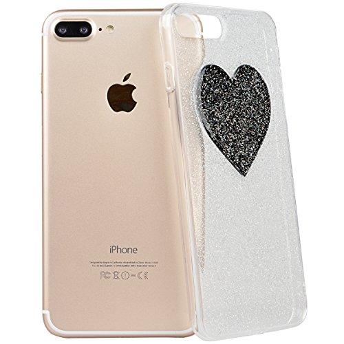 Coque iPhone 7 Plus Glitter. Housse iPhone 7 Plus GrandEver Etui Silicone Souple Back Cover Bling Bling Rose rouge Case Cover 3D Cœur Motif Flexible Soft Back Case TPU Clair Cristal Rubber Gel coquill Cœur Noir