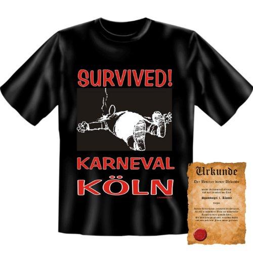 witziges Karneval Fasching T-Shirt + Urkunde: Survived - Karneval Köln - Herren Shirt Fastnacht Rosenmontag Party (Ideen Kostüm Playboy Party)