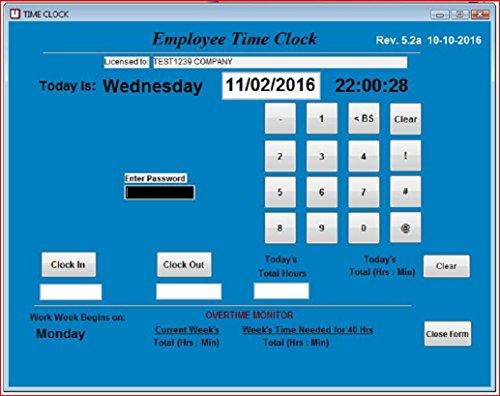 Zeituhr-Software, für kleine Unternehmen, für bis zu 100 Mitarbeiter (Windows XP,Vista,7,8 oder 10), keine monatlichen Kosten, Touchscreen bereit