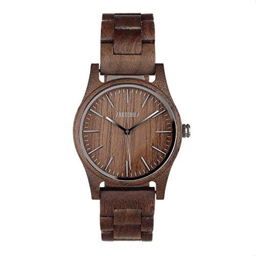 ZARTHOLZ Herren Damen Unisex Holzuhr Holz-Armbanduhr Meister (Walnussholz mit Holzarmband)