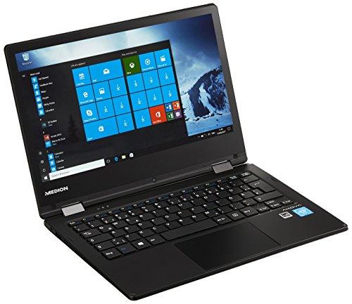 Medion Akoya E2221T MD 60623 29,4cm (11,6 Zoll HD Display) Convertible Touch-Notebook (Intel Atom x5-Z8350, 4GB RAM, 64GB Flash-Speicher, Intel HD-Grafik, Win 10 Home) schwarz