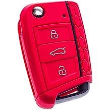 E-Senior Silicona Funda para llave de coche (compatible con SEAT Leon 5F, SC, St, Volkswagen Golf 7 GTI VW Golf MK7 VII) (rojo)