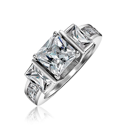 Bling Jewelry Sterling Silber 3Stone Princess Cut CZ Engagement Ring 2 - Ring 2ct Engagement Cz
