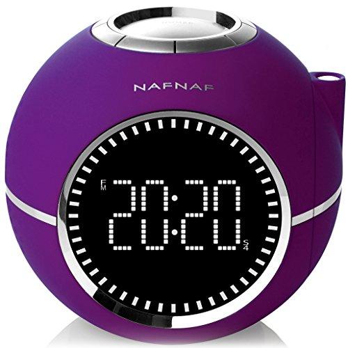 NAF NAF CLOCKINE V2 - Radio réveil avec projection de l'heure, sons de nature et entrée audio auxiliaire.