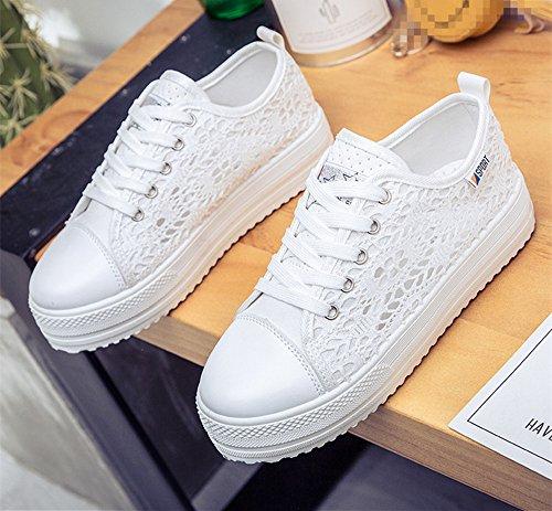 Vinstoken Scarpe Donna con Plateau Sportive Estive Alte Tele Mocassini Nero Bianche 35-42 bianco-le scarpe sono modelle sottili, i pls scelgono 1-2 taglia più della dimensione normale
