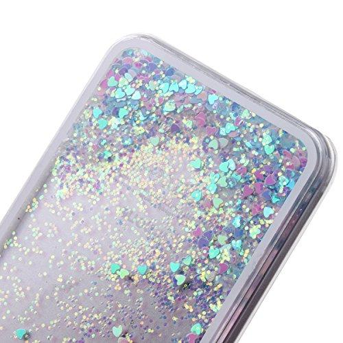 IFEDA iPhone 5/5s Case Coque Housse Etui Transparent Clair Cristal dur plastique Cover étui de protection Liquide se écoulant Bling Glitter Sparkles pour iPhone 5/5s Bleu & Rose