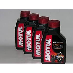 Motul 4T 7100 10W40 Lot de 4 x 1 litre = 4 litres d'huile moteur de synthèse pour moto pas cher