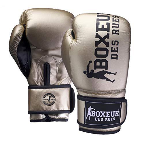 BOXEUR DES RUES Serie Fight Activewear, Guantoni in Pelle Sintetica Cangiante Donna, Oro, 16 OZ