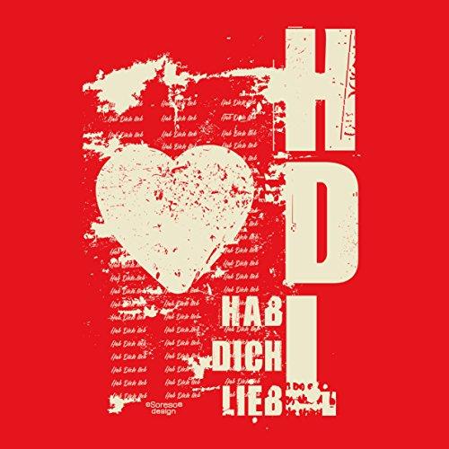Geschenk zum Valentinstag für Ihn T-Shirt Geschenkidee Geburtstag Hab Dich lieb Übergröße Mode Liebe Herren Farbe: rot Rot