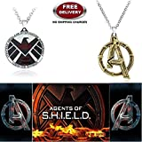 (2 Pcs AVENGER SET) - AGENTS OF S.H.I.E.L.D & AVENGERS LOGO (BRASS FINISH) IMPORTED PENDANTS WITH CHAIN. LADY HAWK DESIGNER SERIES 2018. ❤ ALSO CHECK FOR LATEST ARRIVALS - NOW ON SALE IN AMAZON - RINGS - KEYCHAINS - NECKLACE - BRACELET & T