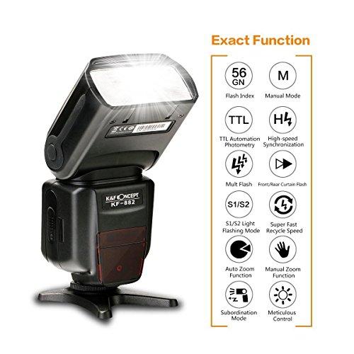 Flash-Elettronico-per-FotocameraReflex-KF-Concept-KF-882-Speedlite-per-Canon-TTL-Funzione-ad-Alta-Velocit