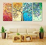LA VIE 4 Teilig Wandbild Gemälde bunter Baum Hochwertiger Leinwand Bilder Moderne Kunstdruck als Ölbild für Zuhause Wohnzimmer Schlafzimmer Küche Hotel Büro Geschenk