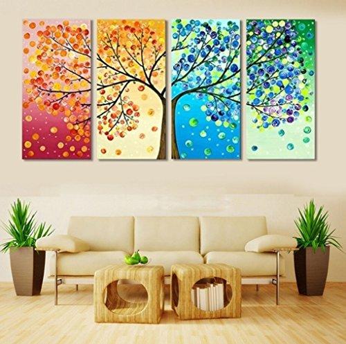 LA VIE 4 Teilig Wandbild Gemälde bunter Baum Hochwertiger Leinwand Bilder Moderne Kunstdruck als Ölbild für Zuhause Wohnzimmer Schlafzimmer Küche Hotel Büro Geschenk (Bäume Bilder)