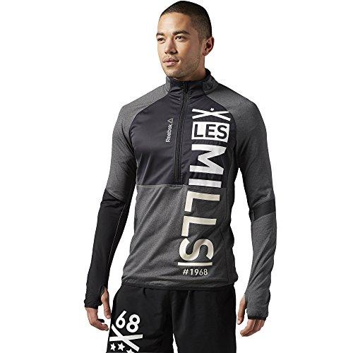 Maglione da uomo Reebok Sport Les Mills con mezza Zip, Dark Grey Heather, XS, AJ1731